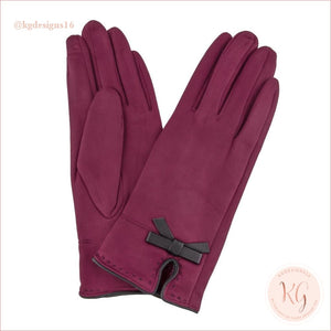 Faux Suede Maroon Smart Touch Gloves With Bow Detail