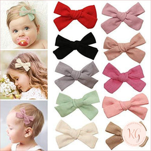 Floral And Solid Hair Clips For Baby And Toddler Girls 10 Pcs Set Linen Roses