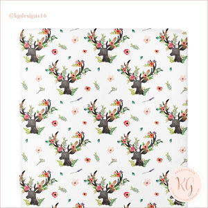 Floral Deer Collection Crib Sheet