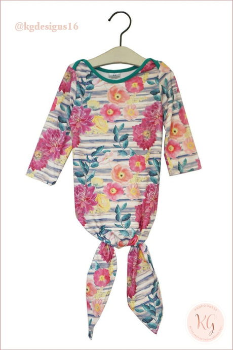 Floral Tie Bottom Baby Gown Romper