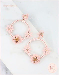 Flower And Seed Bead Hoop Earrings