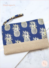 Load image into Gallery viewer, Foil Pineapple Jute Pouch Wristlet Destination Resort Bag