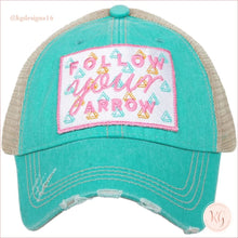 Load image into Gallery viewer, Follow Your Arrow Pastel Baseball Trucker Hat Teal Trucker Hats