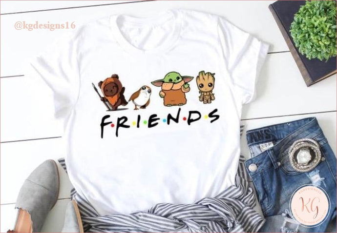 Friends Mashup Yoda Groot Ewok Porg Unisex Shirt Clothing