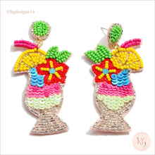 Load image into Gallery viewer, Fruit Cocktail Embellished Seed Bead Beaded Earrings 2 Fuschia