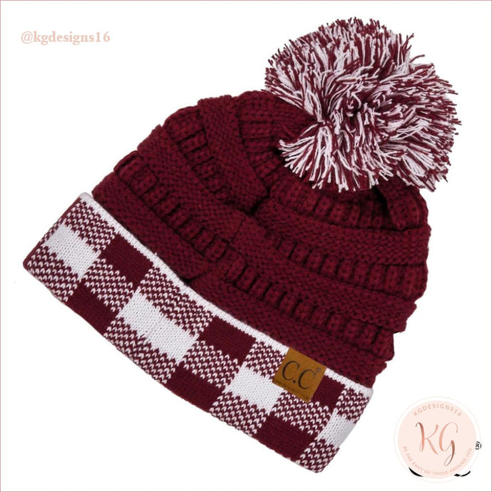 Game Day C.c. Beanie Pom Maroon Checked Hat