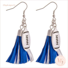 Load image into Gallery viewer, Game Day Collegiate Football Tassel Raffia Earrings Blue/white Earrings