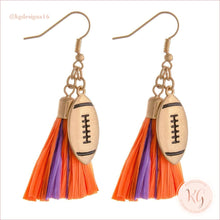 Load image into Gallery viewer, Game Day Collegiate Football Tassel Raffia Earrings Orange/purple Earrings