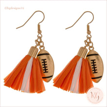 Load image into Gallery viewer, Game Day Collegiate Football Tassel Raffia Earrings Orange/white Earrings