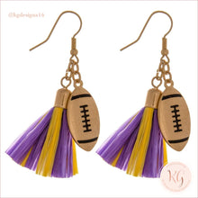 Load image into Gallery viewer, Game Day Collegiate Football Tassel Raffia Earrings Purple/yellow Earrings