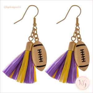 Game Day Collegiate Football Tassel Raffia Earrings Purple/yellow Earrings