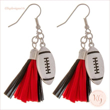 Load image into Gallery viewer, Game Day Collegiate Football Tassel Raffia Earrings Red/black Earrings
