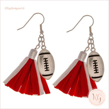 Load image into Gallery viewer, Game Day Collegiate Football Tassel Raffia Earrings Red/white Earrings
