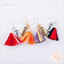 Load image into Gallery viewer, Game Day Collegiate Football Tassel Raffia Earrings Earrings