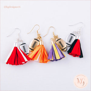Game Day Collegiate Football Tassel Raffia Earrings Earrings