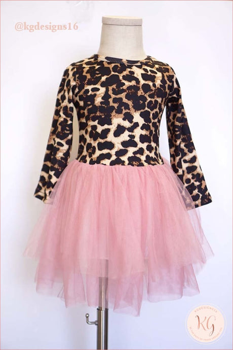 Girls Boutique Leopard Pink Tulle Tutu Twirl Dress