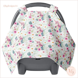 Girls Canopy Car Seat Cover Minky Warm Baby Unicorn Floral