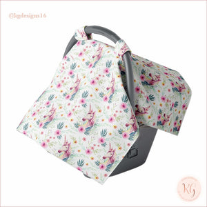 Canopy Car Seat Cover Minky Warm Baby Unicorn Floral