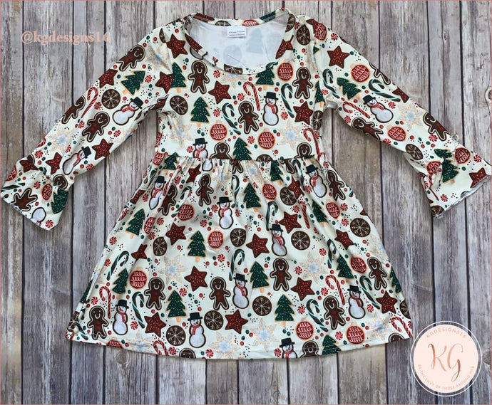 Girls Christmas Cookies Boutique Dress
