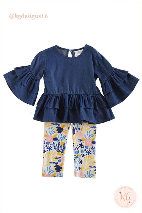 Girls Denim Top And Floral Leggings 2 Piece Set