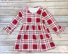 Load image into Gallery viewer, Girls Elsa Holiday Plaid Boutique Dress