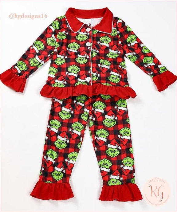 Girls Grinch Santa Ruffle 2 Piece Set Pajamas