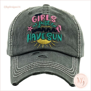 Girls Just Want To Have Sun Embroidered Distressed Baseball Hat Black