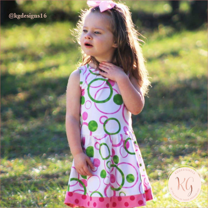 Girls Pink & Green Bubble Design Cotton Knit Swing Dress