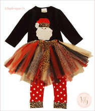 Load image into Gallery viewer, Girls Santa Claus Leopard Tutu Pants Set