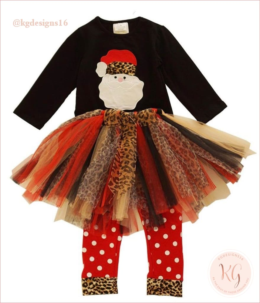 Girls Santa Claus Leopard Tutu Pants Set