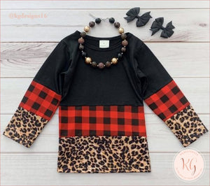Girls Toddler Leopard Buffalo Plaid Raglan Top