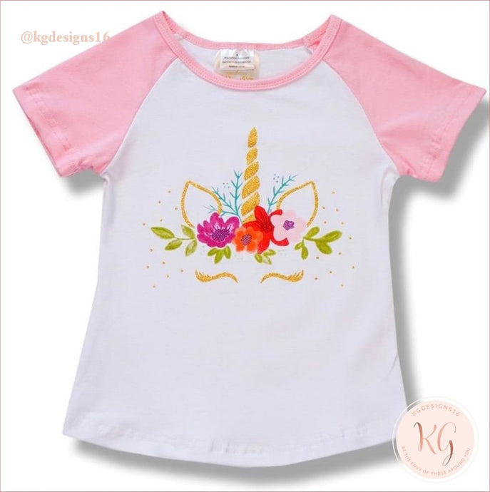 Girls Toddler Short Sleeve Floral Unicorn Top