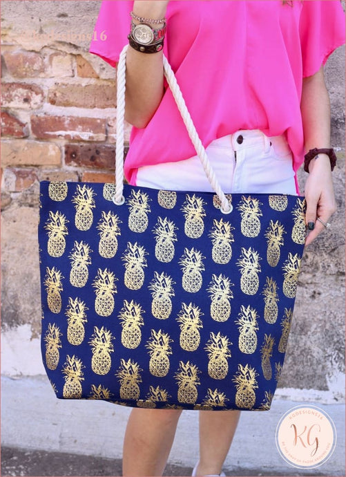 Gold Foil Pineapple Tote Bag With Rope Handles Navy Blue
