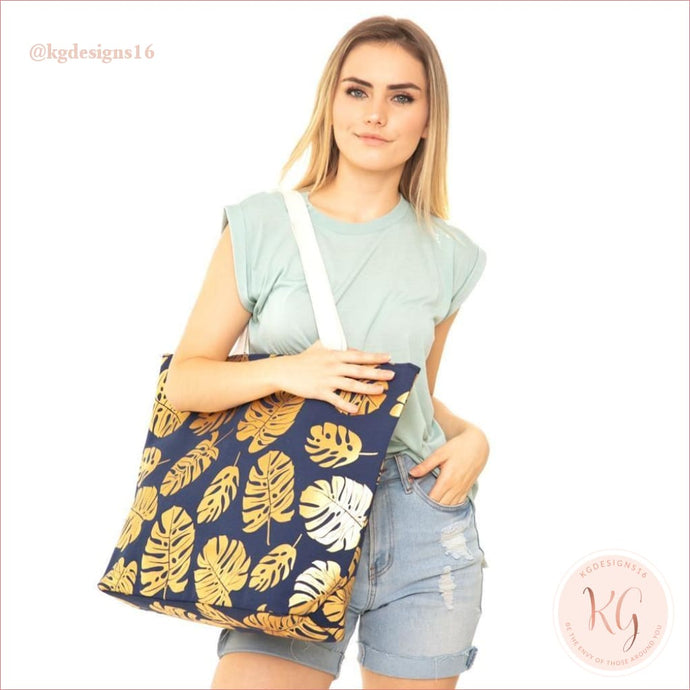 Gold Metallic Palm Tree Navy Blue Canvas Tote Bag With Rope Handles