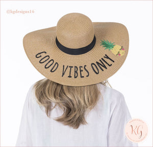 Good Vibes Only Pineapple Embroidered Resort Sun Hat Wide Brim Vacation Straw Jw