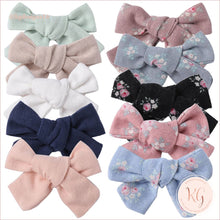 Load image into Gallery viewer, Hair Clips For Baby And Toddler Girls 10 Pcs Set Linen Roses