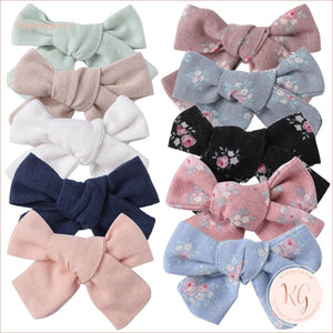 Hair Clips For Baby And Toddler Girls 10 Pcs Set Linen Roses