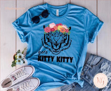 Load image into Gallery viewer, Here Kitty Joe Exotic Floral Bella Womans Unisex T Shirt Clothing