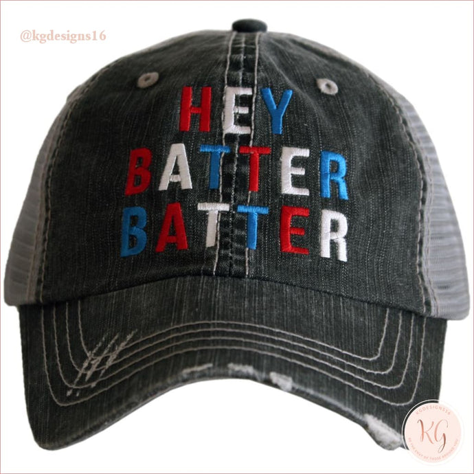 Hey Batter Baseball Hat Distressed