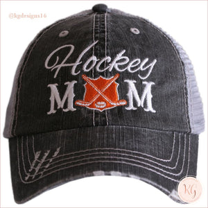 Hockey Mom Distressed Trucker Hats Trucker Hats