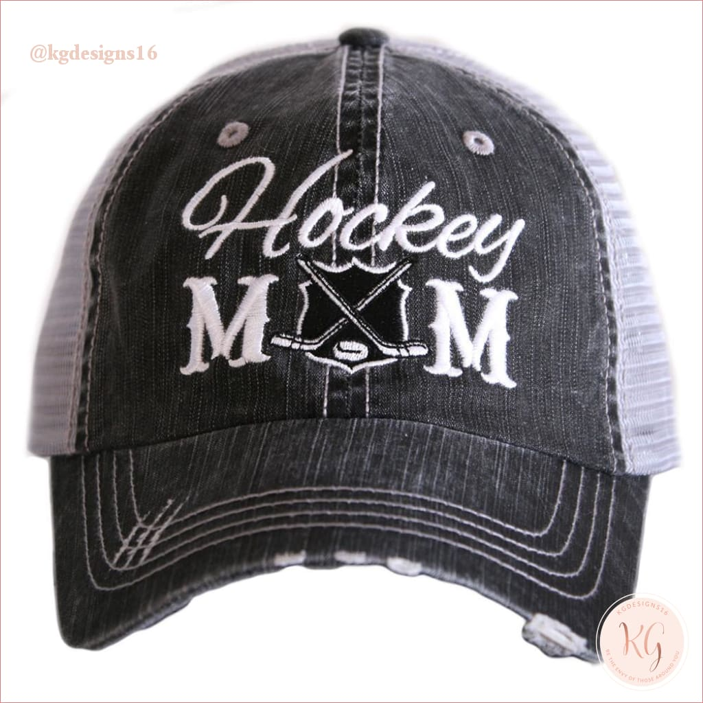 Hockey Mom Distressed Trucker Hats Black Trucker Hats