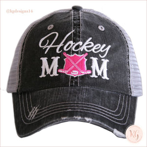 Hockey Mom Distressed Trucker Hats Hot Pink Trucker Hats