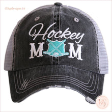 Load image into Gallery viewer, Hockey Mom Distressed Trucker Hats Mint Trucker Hats
