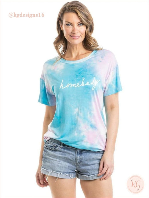 Homebody Womens Tie Dye Graphic T-Shirt S-Xl Short Sleeve