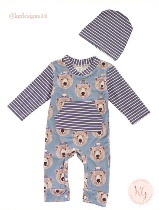Infant Boys Blue Stripe Baby Bear Romper With Matching Hat