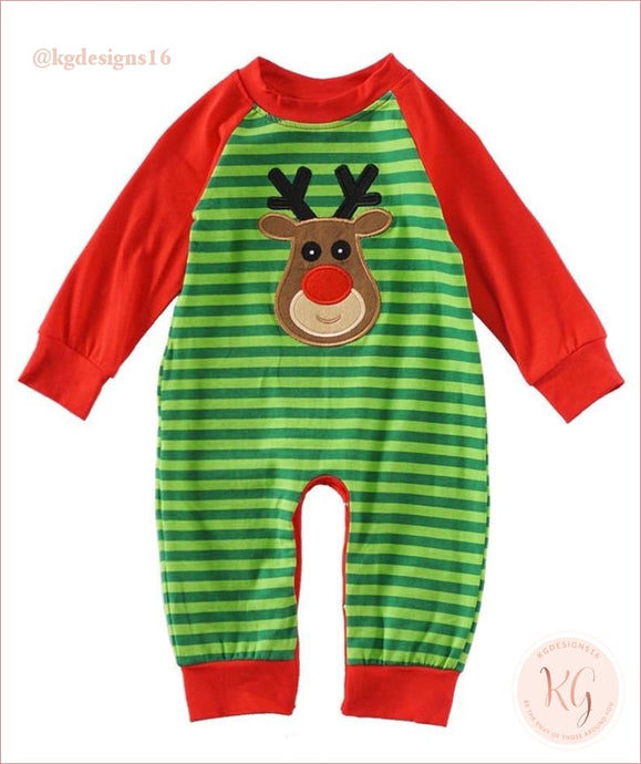 Infant Reindeer Green Stripe Christmas Applique Baby Romper