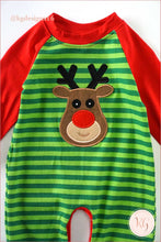 Load image into Gallery viewer, Infant Reindeer Green Stripe Christmas Applique Baby Romper