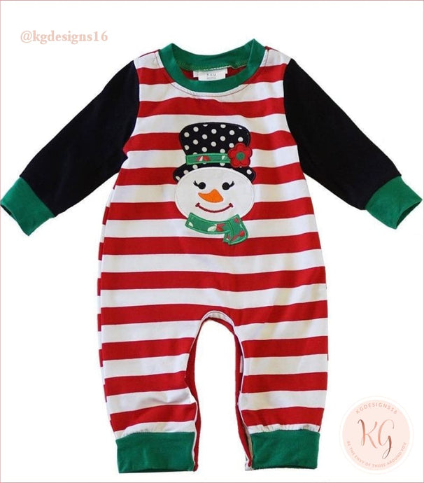 Infant Snowman Red Stripe Christmas Applique Baby Romper