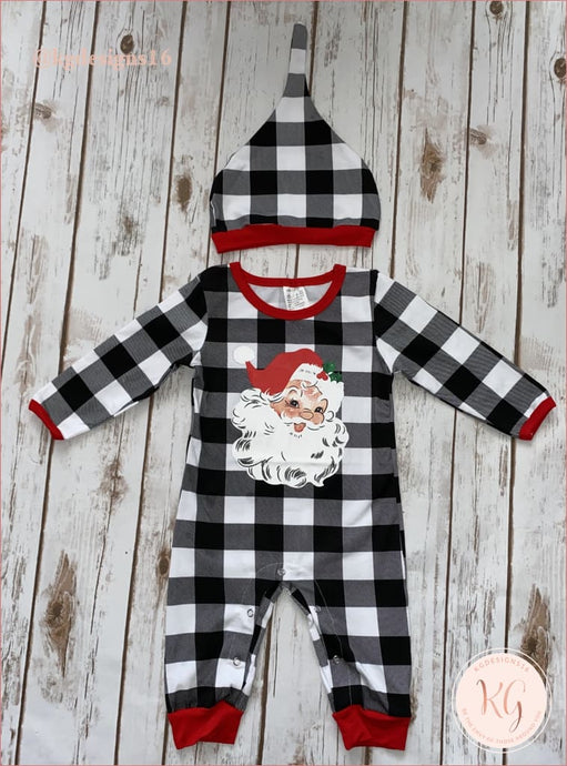 Infant Toddler Santa Claus Buffalo Check Romper With Matching Hat