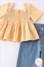 Load image into Gallery viewer, Infant Toddler Yellow Plaid Top With Denim Capri Set
